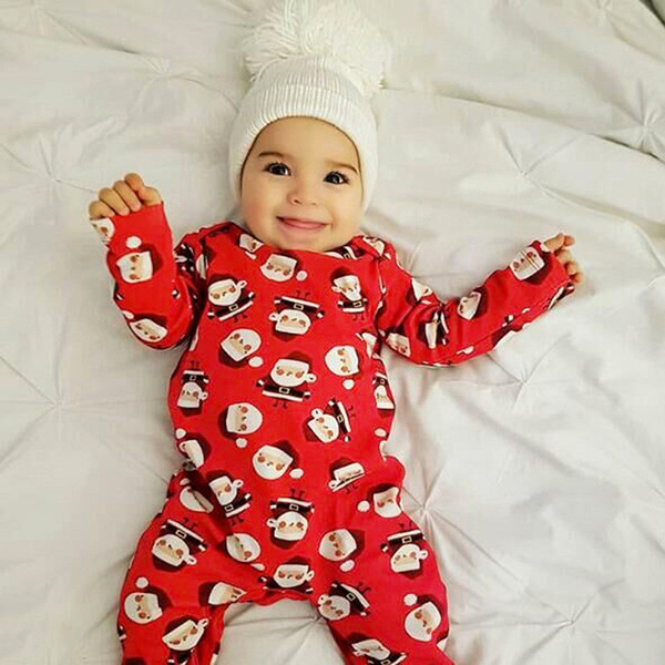 2019 Europe and the United States spring and autumn models girls long-sleeved Santa Claus jumpsuit romper Harbin children's clothing jumpsui