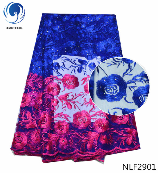 top popular 2018 royalblue High quality nigerian french lace african lace fabric With a stone for party dress Free shipping ,5yards NLF29 2019