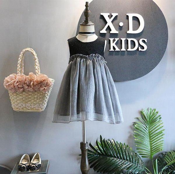 2018 GirlsFashion girls Lace Crochet Vest Dress Princess Girls sleeveless crochet vest Lace dress baby party dress kids clothes