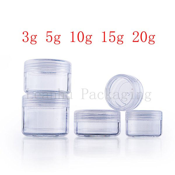 empty transparent small round plastic display bottle pot clear cream jar for cosmetic packaging ,Mini cosmetic sample container