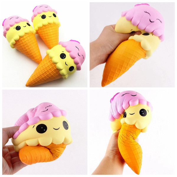 top popular New 12CM Squishy Double Smile Face Ice Cream Toy Relieve Stress Dcompression Slow Rising Rebound Sweet Scented Baby Toys GGA59 2021