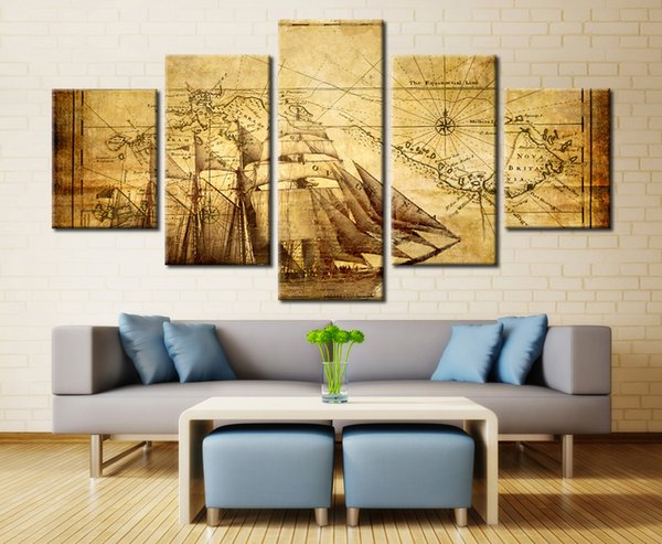 (No Frame) 5 Panles Vintage World Map Spray Oil Painting Giclee Canvas Prints Painting for Office Study Room Home Decoration