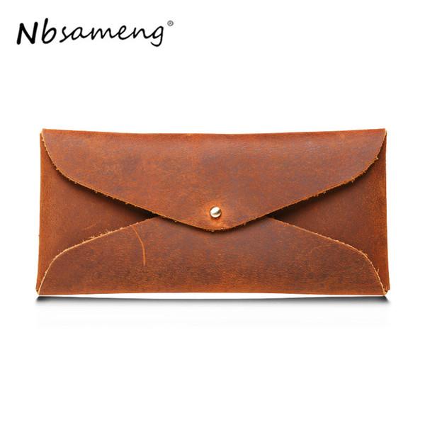 NBSAMENG Brand Designer 100% Top Genuine Cowhide Leather Men Long Phone Simple Wallet Envelope Purse