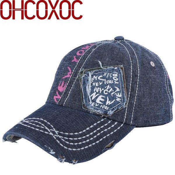 женщины новый дизайн шляпы мужская бейсболка печати письмо шаблон винтажный стиль джинсовый материал регулируемая casquette gorras шапки