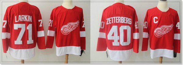 New Detroit Red Wings #40 Henrik Zetterberg 71 Dylan Larkin Mens Ice Hockey Shirts Pro Sports team Jerseys Stitched Embroidery For Sale