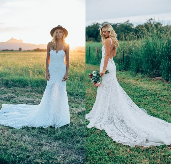 Simple Long Lace Country Wedding Dresses 2018 New Open Back Sweetheart Boho Wedding Gowns for Bride