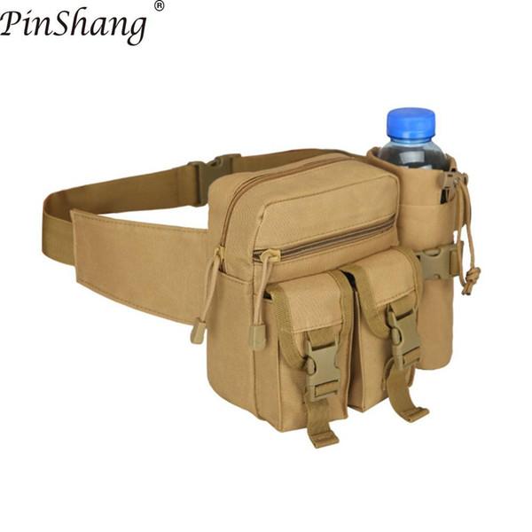 PinShang Erkekler Bel Çantası Taktik Bel Paketi Kılıfı ile Su Şişesi Tutucu Su Geçirmez 800D Naylon Kemer Bum Çanta Erkekler ZK40