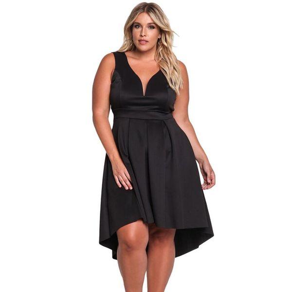 Mulher gorda nova moda Roupas femininas sexy gola V Sem mangas Cintura alta Saia irregular Ampliando código Vestido feminino Vestidos casuais