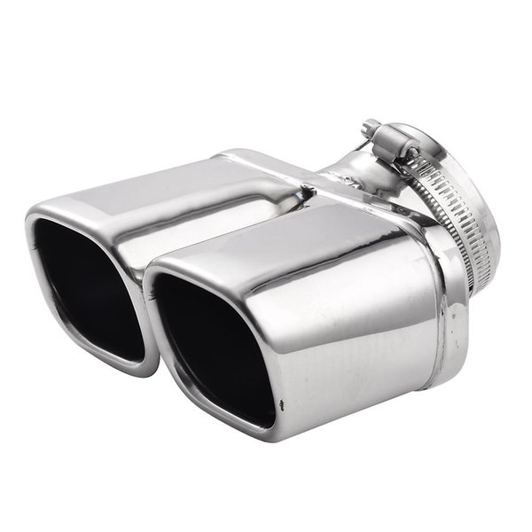 Y-Pipe Car Exhaust Pipe Stainless Steel Dual Round Tail Muffler Tip Pipe Auto Silver Color Inside Diameter 7 Cm Car Pipe