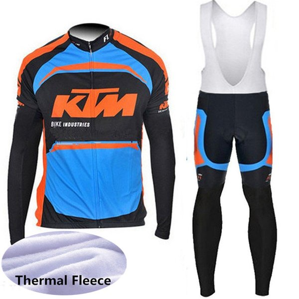 2018 KTM cyclisme costume hiver hommes en molleton thermique polo à manches longues chemises de vélo bavoir pantalon ensemble VTT vêtements de vélo racing vêtements de sport 112002Y