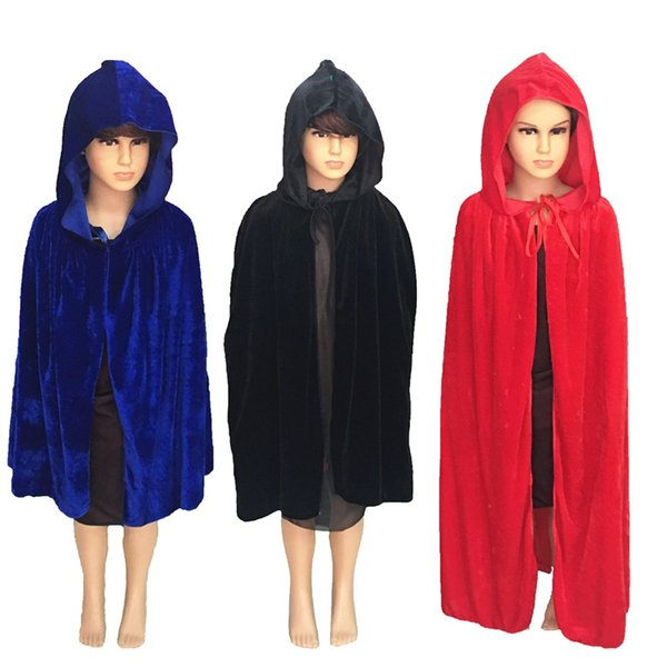 wizard Cosplay Costume Halloween Party Solid Black Green Red Scary Death Cloak Cape for Kids S-XL