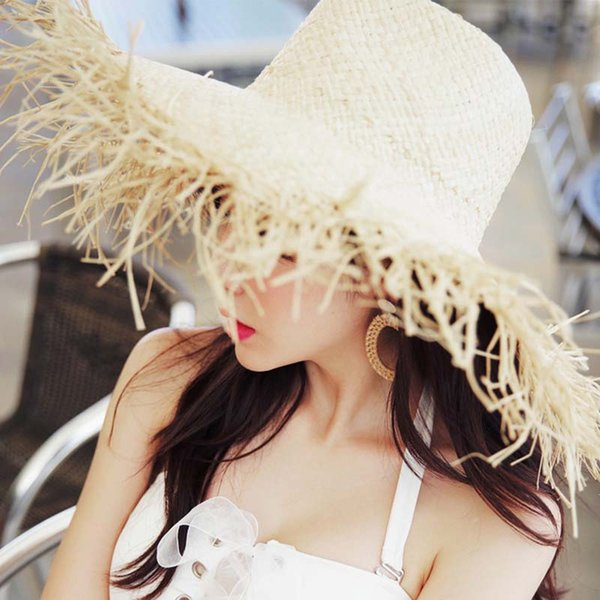 Straw Hat Wide Brim Women Sun Hats For Women Beach Caps Sombreros Wide Brim  Beach Side 97dbc84e5fa