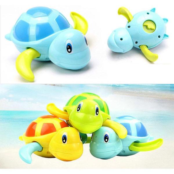 DHL 120pcs Baby Shower Bath Tortoise Animals Water Clockwork Floating Toys Fir Children Kids Swimming Paddle Game Beach Fish Toy retail box