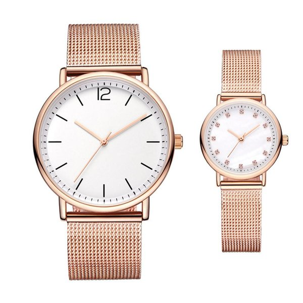 LinTimes Lovers Simple Waterproof Quartz Watch with Steel Watchband Thin Wristwatch Ornament Gift
