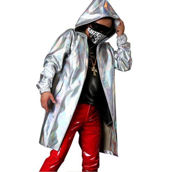 Neue nach Maß Männer mit Kapuze Mantel Trenchcoat Bühnensänger Tänzer tragen Kostüme Mode Hip Hop männlichen lose lange Strickjacke