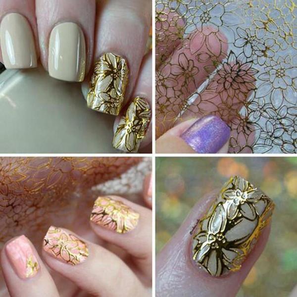 1 Blatt Präge 3D Nagel Aufkleber blühende Blume Design Metall Aufkleber DIY Aufkleber Für Nägel Kunst Fingernagel Maniküre Werkzeuge