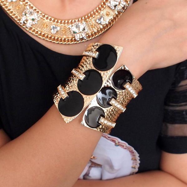 браслет MANILAI женская мода преувеличить манжеты браслеты металл Черная глазурь стразы женщины заявление ювелирные изделия большие браслеты браслеты
