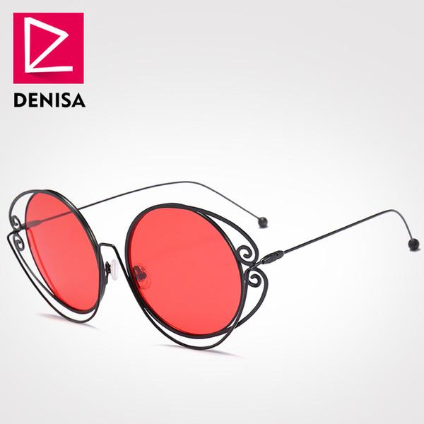 DENISA Marka Vintage Yuvarlak Güneş Gözlüğü Kadın Erkek Moda Retro Gözlük Yuvarlak Kırmızı Güneş Gözlükleri Erkekler gafas de sol mujer UV400 G18608