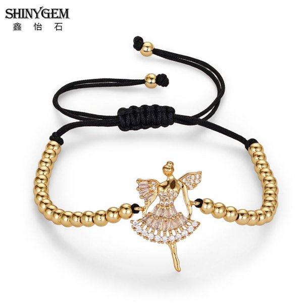 ShinyGem Elegant Dancer Charm Bracelets Micro Pave Zircon Figure Bracelets For Women DIY Braided Adjustable Round Bead Bracelet