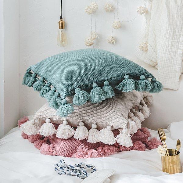 Startseite dekorative weiche Plüsch Doppelkabel gestrickte Kissenbezug Quaste Sofa Kissenbezüge, große Valentinstag Geschenk