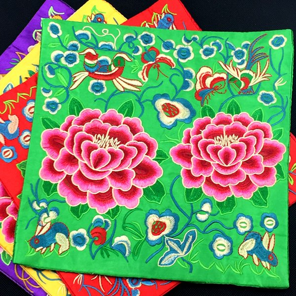 Square Embroidered Peony Flower Table Placemats Dining Table Plates Bowl Pad Decoration Ethnic Crafts Vintage Coffee Tea Mat 26 x 26 cm