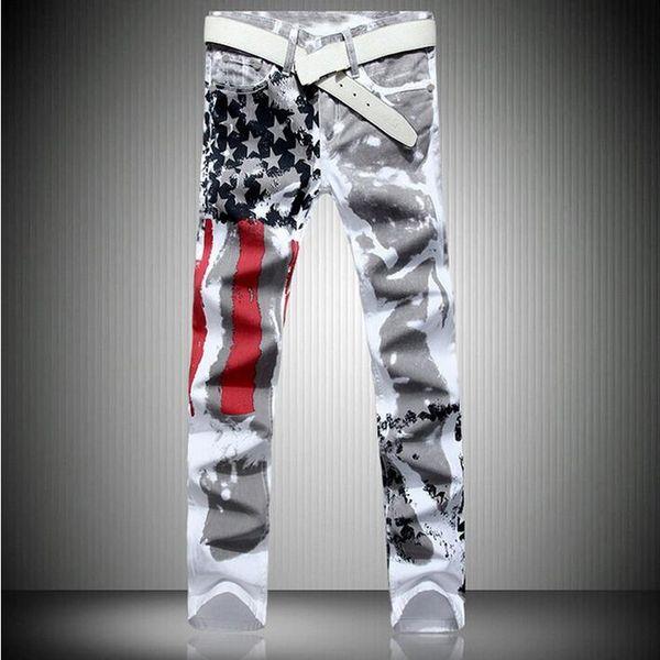 VXO Mens Brand Jeans Men's Fashion Slim-fit Jeans USA American Flag Print Straight High elasticity