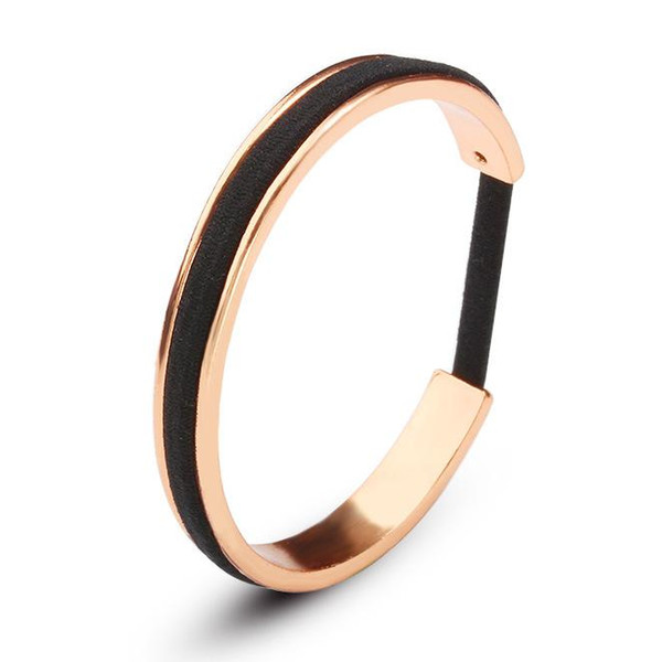 whole saleHot Trendy HAIR TIE Bracelet in 3 COLOR with black hair rope fashion daily wear open cuff bracelet jewelry DROP SHIPPING