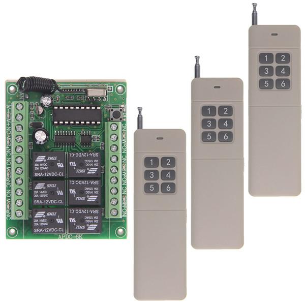 3000m Long DC 12V 24V 6CH 6 CH RF Wireless Remote Control Light Motor Relay Switch System,Receiver +Transmitter,315 / 433 MHz