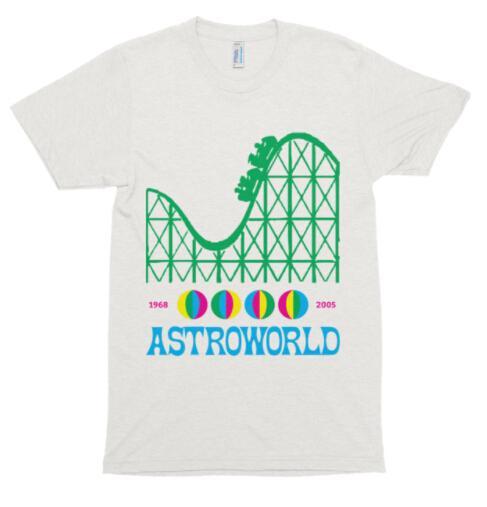 Roller Coaster Printed Astroworld Travis Scott Tees Short Sleeve Tops Male Hip Hop Designer Tshirts Free Shipping
