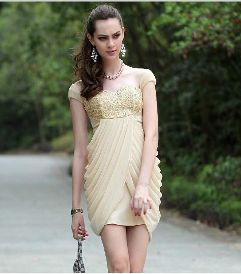 free shipping 2018 beige clairvoyant outfit exquisite handmade quality fashion gauze embroidery dress Cocktail Dresses