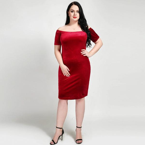 Fat Women Red Formal Dress Off Shoulder Primavera Nuovo arrivo Boat Neck Evening Long Dress Velluto Plus Size 5XL