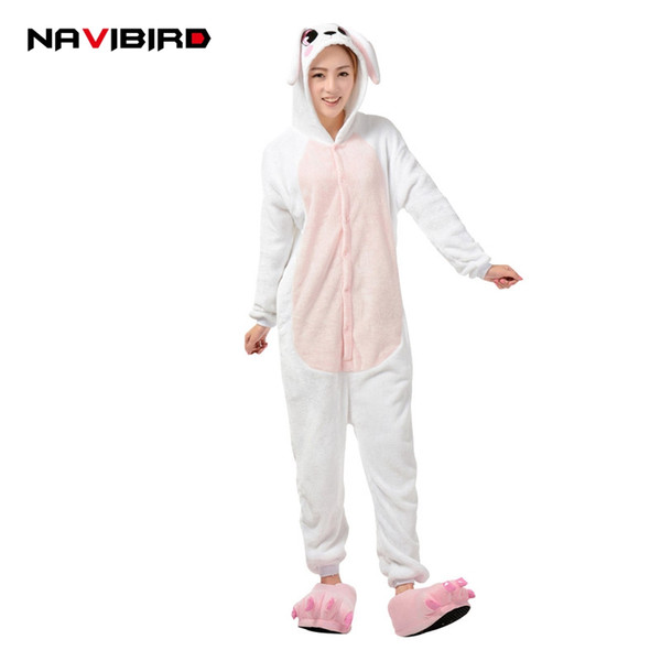 Cute Animal Pink Rabbit Kigurumi Pajamas Women Adult Cartoon Flannel Long Sleeve Hoodie Pyjama Winter Pijama Anime Cosplay