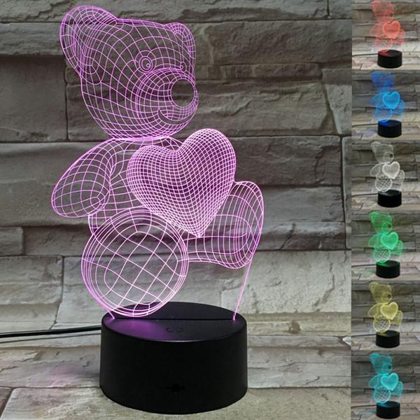 Little Bear Love Heart 3D LED Night Light 7 Cambia colore lampada per bambini Camera da letto # R42