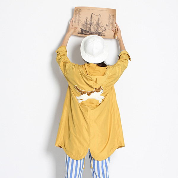Spring Autumn Women Trench Coat Harajuku Cute Hooded Cat Patch Girl's Long Coats Thin Oversize Windbreaker Fashion Design