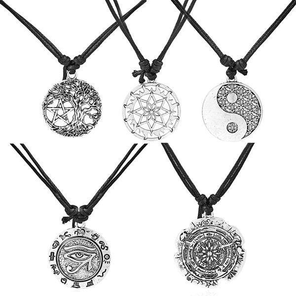 Dropshipping 10pcs Round Hollow Tree /Lotus/Yin Ying Yang/Eye of Horus Ra/Edelweiss Flower Charms Pendants Necklace Black Wax Cord