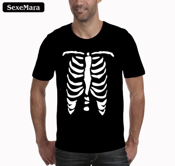 Sexemara Europa América Moda Hombre / Mujer Camiseta 3d Impresión Skullon Skulls Camiseta Summer Tops Tees Marca T Shirt