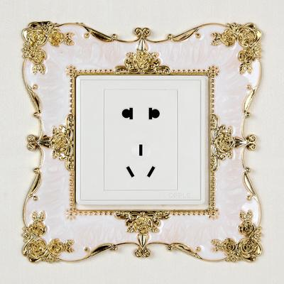 Switch wall sticker protective cover, living room wedding room Creative European acrylic Switch plaster socket plug Wall paste resin switch