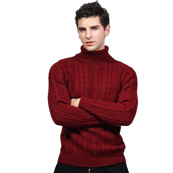 New 2017 Winter Turtleneck Sweater For Men Knitted Standard Wool Sweater Men Casual Thick Warm Winter Pullover Pull Homme