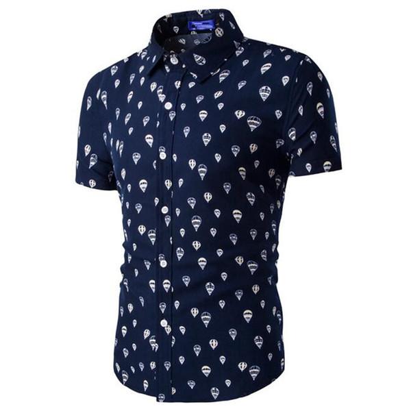 Cartoon Short Sleeve Shirt Men Night Club Fashion Tops Novelty 2018 Casual Clothing Elegant Print Business Shirts Parachute Tops