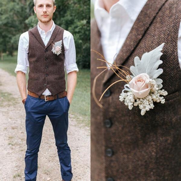 2019 British Style Vintage Brown Wool Tweed Groom Vests Formal Groom's Wear Suit Vest Men's Wedding Tuxedo Waistcoat Plus Size