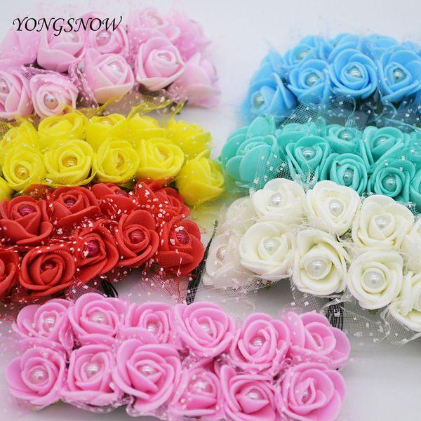 144pcs 2.5CM PE Foam Lace Rose Artificial Bouquet Wedding Decoration DIY Wreath Gift Box Scrapbooking Craft Fake Flower