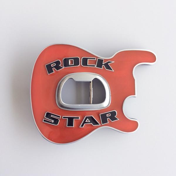 New Vintage Red Enamel Rock Music Star Guitar Belt Buckle With Beer Bottle Opener BUCKLE-MU102RD