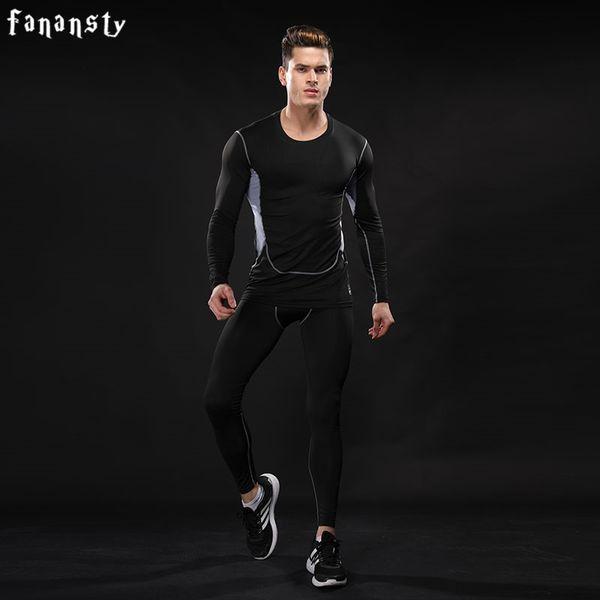 Compre Compression Set Running Suits Hombres Fitness Ropa Culturismo Medias Camisa De Manga Larga Pantalones Leggings Gym Sport Suit 2 Piezas A $34.9