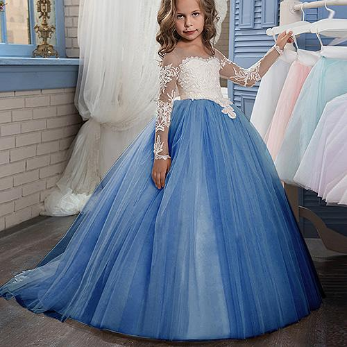 Pageant Cute Long Sleeve Princess Gowns Lace Flower Girl Dress For Wedding or Prom Lolita Floor Length Hand Made Kids Party Birthday Dress
