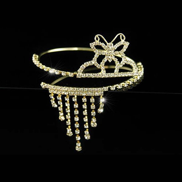 Wholesale- Bridal Wedding Party Pageant Butterfly Rhinestone Gold Plated Upper Arm Bracelet Armlet CA011