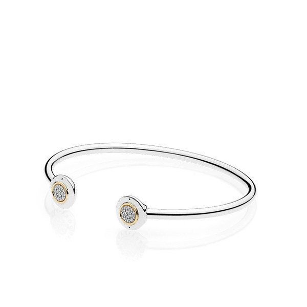 best selling Authentic 925 Sterling Silver Cuff 18K Gold Bangle for Women Brand Logo fit Pandora Charm Beads Bracelet DIY Jewelry
