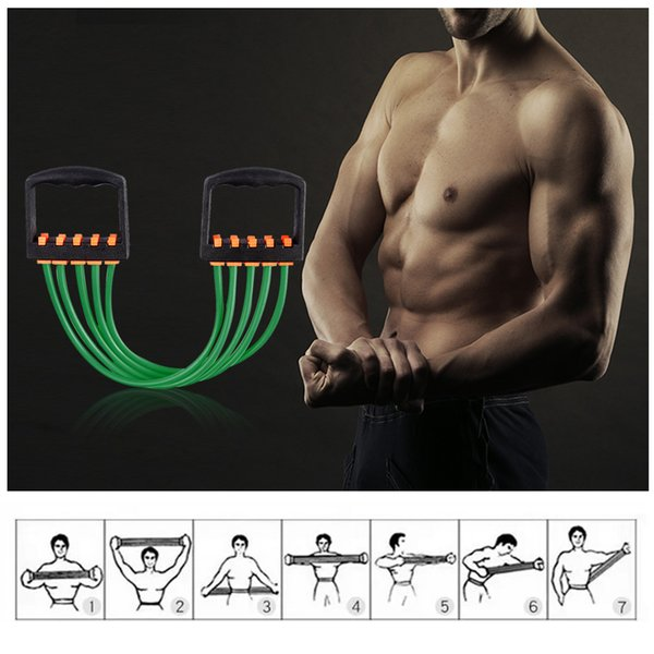 2019 2018 2018 Adjustable 5 Tubes Resistance Band Fitness Resistance Cable  Elastic Rope Portable Indoor Chest Expander Fitness Equipment From