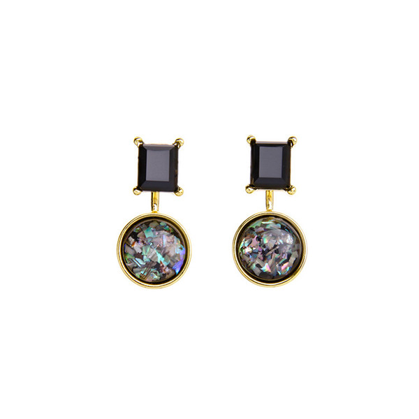 Shimmer Geometry Stone Drop Dangle Earrings 18K Gold Plated Fashion Accessories Vintage Jewelry For Women Party Gifts 2018 New