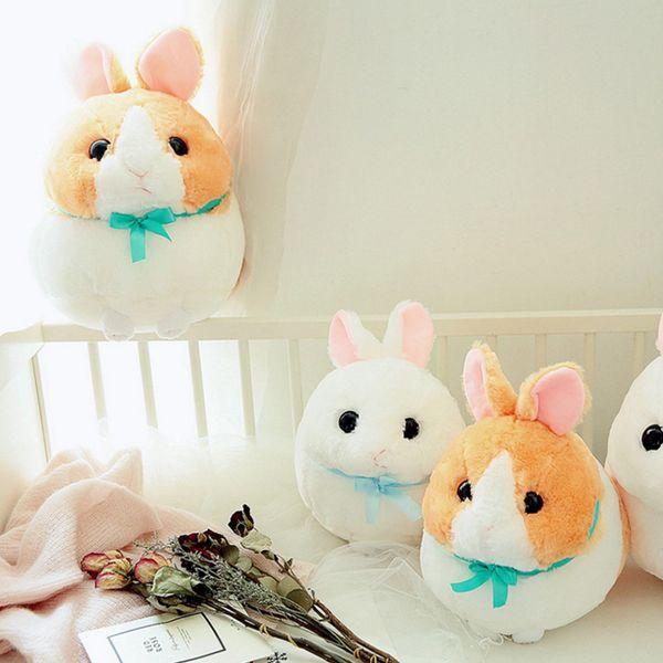 Hairy Rabbit Doll Long Ear Rabbit Ball Meatball Plush Toy Send Girlfriend Gift Baby Doll White, Brown