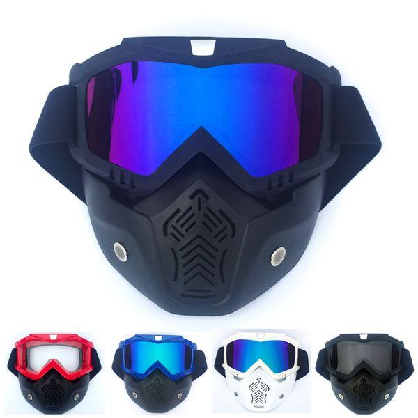 e7cf5e9af9 Motocicleta Gafas desmontables Motocross Máscara modular Filtro de la boca  Perfecto para Open Face Motocicleta Medio